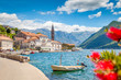 Leinwanddruck Bild - Historic town of Perast at Bay of Kotor in summer, Montenegro