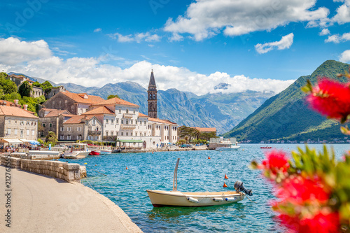 Leinwanddruck Bild Historic town of Perast at Bay of Kotor in summer, Montenegro