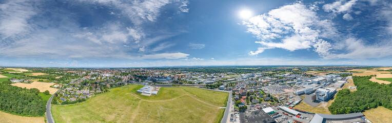 Luftbild Südseite Stadt Worms am Rhein © apfelweile