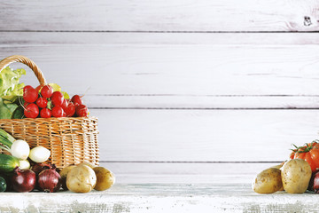 Free space for your decoration and white wooden background. Autumn time.