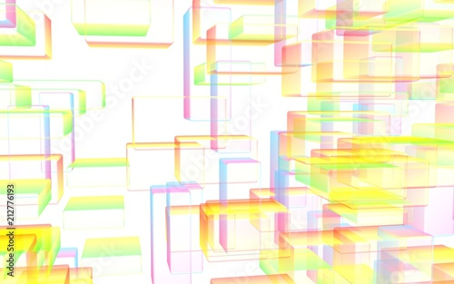 Colorful abstract digital and technology background. The pattern with repeating rectangles. 3D illustration - 212776193