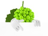 Grapes character pointing finger behind white wall
