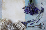 Background with lavender flowers and sachet bags - 212777388