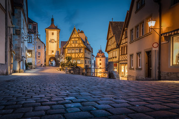 Historic town of Rothenburg ob der Tauber in twilight, Bavaria, Germany