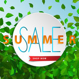 Sale summer poster with green falling leaves on background. Advertisement banner with sd effect elements. Colorful template. - 212777784