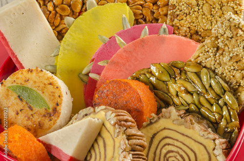 Mexican traditional candies. Colorful assorted homemade sweets