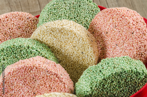 Colorful Mexican Amaranth brittles called Alegrias. Healthy staple food of the old Aztecs still eaten in Mexico