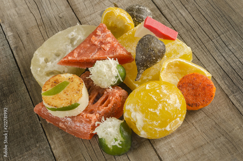 Mexican candied fruits . Colorful traditional assorted sweets