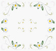 Background with daisies. White abstract background with daisies.