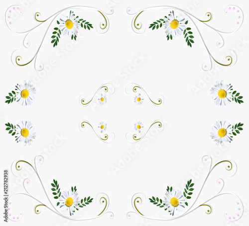 Background with daisies. White abstract background with daisies. - 212782938