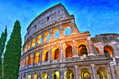 The Colosseum or Coliseum in the city of Rome, Italy.