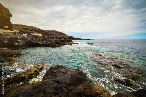 Foto Murales Tenerife, Canary islands, Spain - view of the beautiful Atlantic ocean coast with rocks and stones