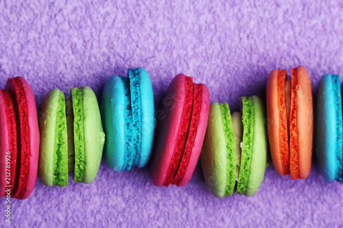 Fotobehang Macarons A row of bright macarons of different color