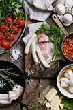 Traditional Full English Breakfast Ingredients.  Rustic style photography. Overhead view. - 212797914
