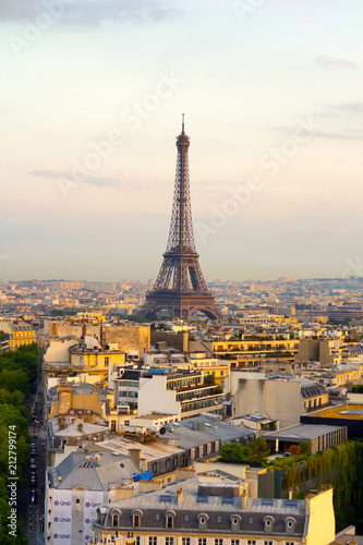 Foto Murales Aerial view of Paris skyline with Tour Eiffel in background