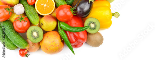 Fruits and vegetables isolated on white background. top view. Free space for text. Wide photo.