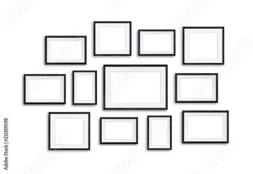Fototapeta Black wooden photo frames mock up, twelve units set collage, 3d illustration
