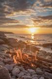 fire burns near the sea - 212805759
