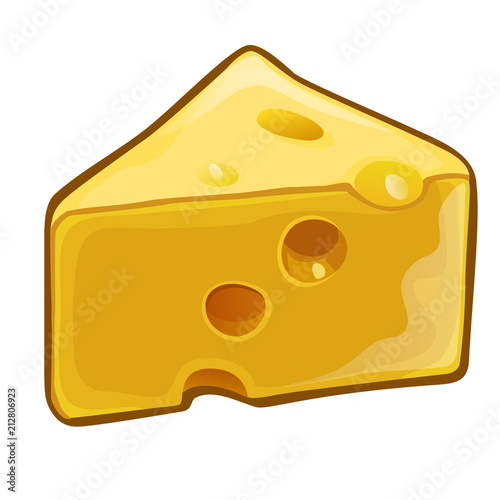 A piece of cheese with holes isolated on white background. Dairy product, attribute of healthy eating, fitness menu. Vector close-up cartoon illustration.