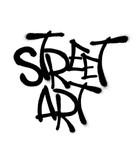 Sprayed street art font graffiti with overspray in black over white. Vector illustration. - 212807790