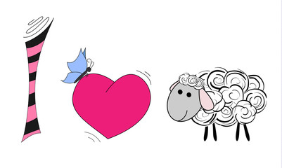 I love the lamb. I love a sheep. Illustration of a cartoon sheep. Design for kids t-shirt.