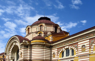 Details from Central Mineral Bath in Sofia, which is a monument of culture of national importance. Built in 1913 in the style of Secession, typical Bulgarian, Byzantine and Orthodox ornaments.
