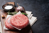 Raw minced beef meat for home made burgers - 212809702