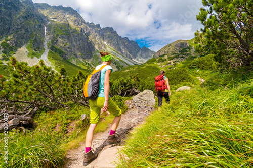 Young active girls hiking in High Tatras mountains, Slovakia