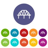 Arched train bridge icons color set vector for any web design on white background - 212812156