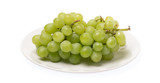Green grapes on dish isolated on white background