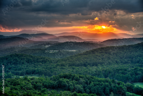 Summer Sun setting on the Blue Ridge Mountains in North Carolina
