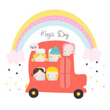 Happy girls in the car under the rainbow. Childish graphic. Vector hand drawn illustration. - 212818183