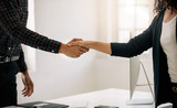 Business partners shaking hands at a meeting - 212819795
