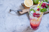 Raspberry lemonade. Iced summer drink.