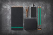 Leinwanddruck Bild - dark elegant branding / identity mockup with blank notebook, black cardboard box for packaging purposes, tag with metal seal, copper utensils, turquoise details / accents - top view
