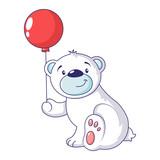 Bear with air ballon icon. Cartoon of bear with air ballon vector icon for web design isolated on white background - 212825106