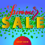 Sale summer poster with green falling leaves on background. Advertisement banner with 3d effect elements. Colorful template. - 212831952