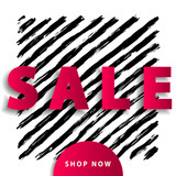 Sale poster with red paper cut elements on black stripy background. Advertisement banner with hand drawn elements. Colorful template. - 212831983