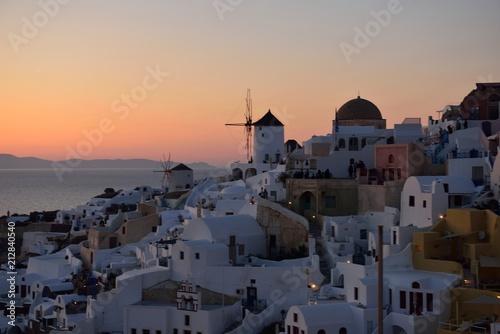 Fotobehang Santorini サントリーニ島の夕陽