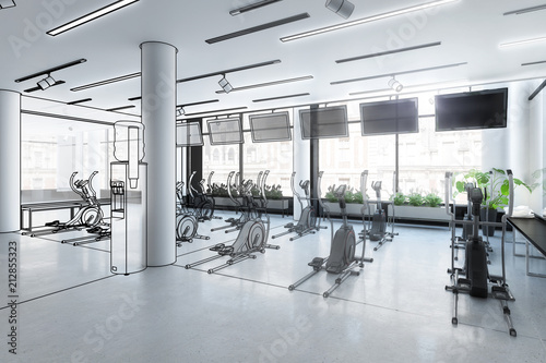 Wall mural Crosstrainer im Fitness-Zenter (Illustration)