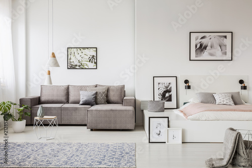 Real photo of a grey couch standing next to a platform bed in spacious one room flat interior © Photographee.eu