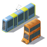 Vector isometric set with passenger transport, public double decker bus and tram, isolated on background. Modern town vehicles to carry people in city. Clipart of 3d objects for your design