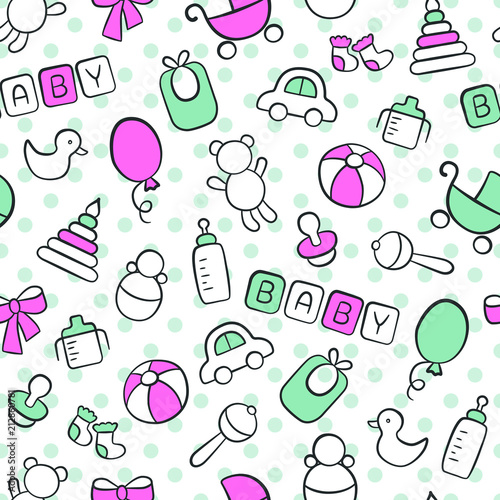 Fototapeta Baby. Newborn. Cute seamless pattern in doodle and cartoon style. Blue and pink. Vector. EPS 8