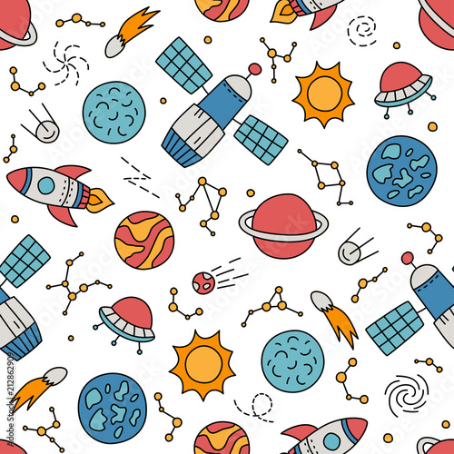 Cosmos. Seamless pattern in doodle and cartoon style. Color