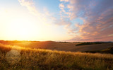 typical Tuscany landscape; sunset over rolling hills - 212864163