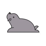 seal, arctic animal in zoo icon set, filled outline design - 212869389