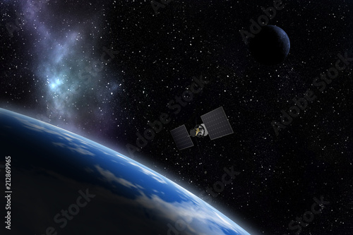 Spacecraft flying near unknown planet. Space exploration. 3d illustration.
