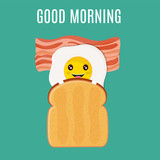 good morning breakfast egg with toast and bacon - 212870318