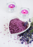 Heart-shaped bowl with sea salt  and fresh lavender flowers - 212870376