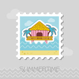 Bungalow with palm trees stamp. Summer. Vacation - 212873343